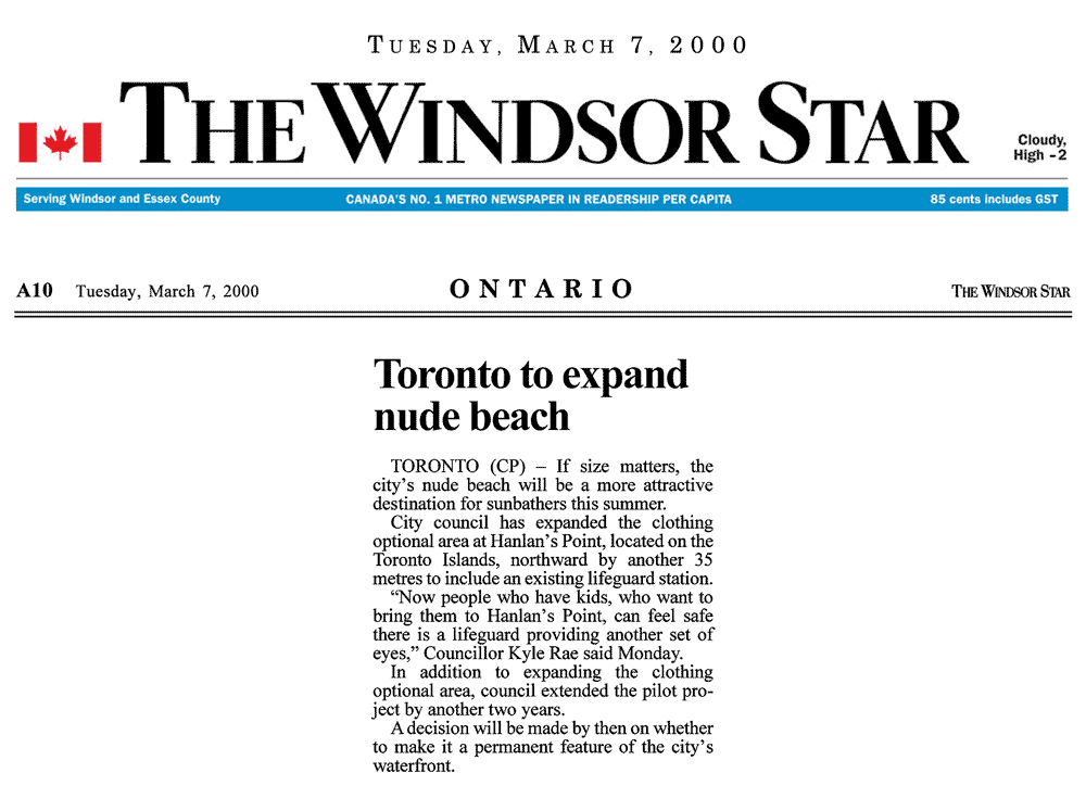 Windsor Star 2000-03-07 - Toronto Council extends Hanlan's Point CO-zone
